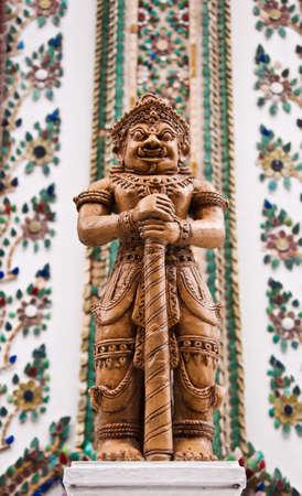 far eastern: Demon Guardian at the door of Viharn Yod at Wat Phra Kaew