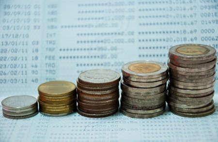 Thai Coins on book bank account photo