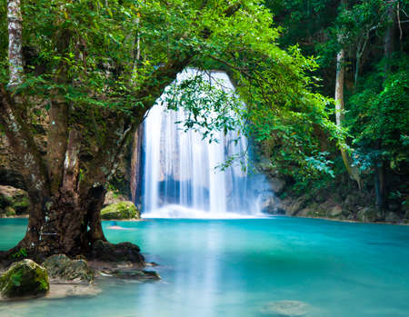 Cliff of Erawan Waterfalls