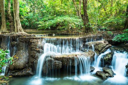 Deep forest waterfall at Huay Mae Ka Min, Kanchanaburi province, Thailand