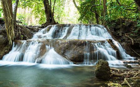 Huay Mae Khamin Waterfalls, Sri Nakarin National Park, Kanchanaburi province, Thailand Stock Photo - 27156923