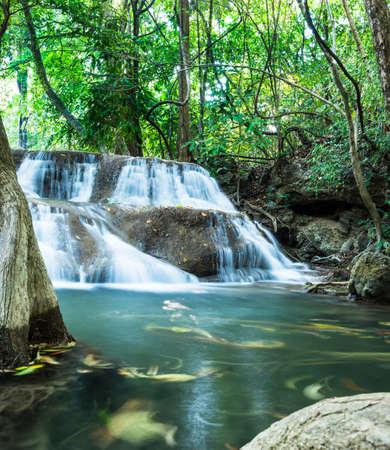 Huay Mae Khamin Waterfalls, Sri Nakarin National Park, Kanchanaburi province, Thailand Stock Photo - 27156924