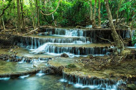Huay Mae Khamin Waterfalls at Sri Nakarin National Park Stock Photo - 27156931