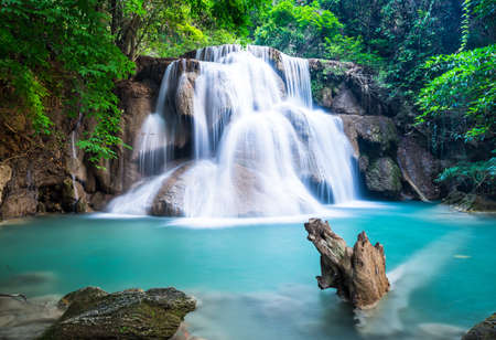 Huay Mae Kamin Waterfall at Kanchanaburi province, Thailand photo