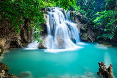 Huay Mae Kamin Waterfall in Kanchanaburi province, Thailand Banco de Imagens