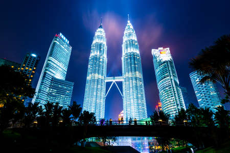 KUALA LUMPUR, MALAYSIA - April 08: Petronas Towers on April 08, 2014 in Kuala Lumpur, Malaysia.Petronas Towers,also known as Menara Petronas is the tallest buildings in the world from 1998 to 2004