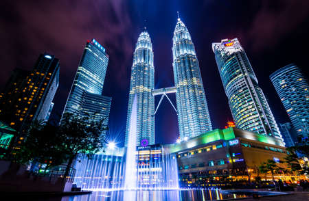 Kuala Lumper, Malaysia - April 08, 2014: KUALA LUMPUR, MALAYSIA - April 08: Petronas Twin Towers at night scene