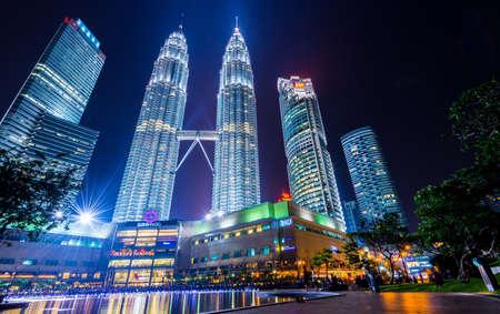 Kuala Lumper, Malaysia - April 09, 2014: KUALA LUMPUR, MALAYSIA - April 09: Petronas Towers in night scene at Kuala Lumpur