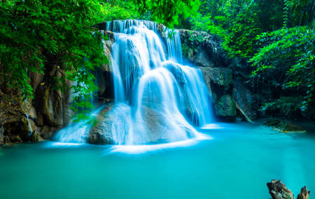 Waterfall in deep forest at Huay Mae Khamin photo
