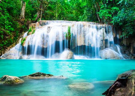 Waterfall in the Jungle at Kanchanaburi Province, Thailand Фото со стока