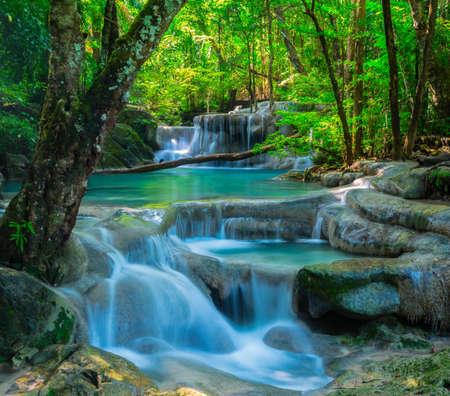 Beautiful waterfall in tropical forest Banco de Imagens