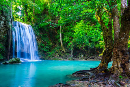 waterfall in the tropical forest where is in Thailand National Park