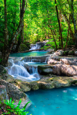 Beautiful waterfall in Thailand tropical forest Banco de Imagens