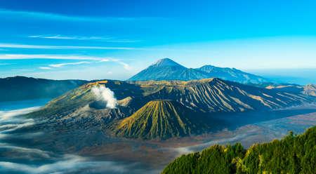 mountain ash: Mount Bromo volcano during sunrise, East Java, Indonesia. Stock Photo