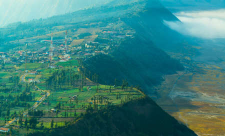erupt: The village on highland close to Mount Bromo
