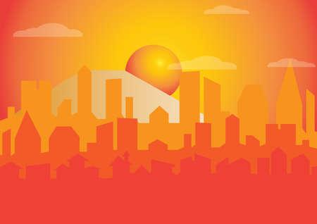 hot temper: Silueta de la ciudad al atardecer, ilustración. Vectores