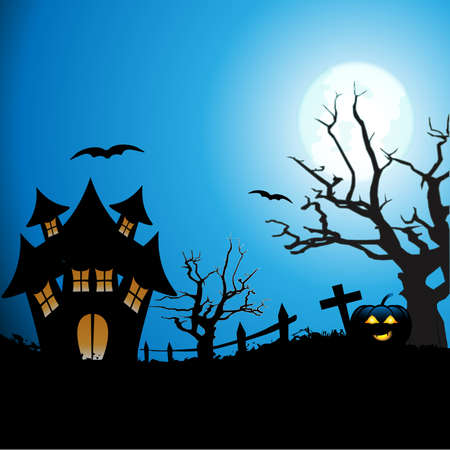 Halloween background. Foggy landscape of graveyard with old scary house, dead tree and pumpkin, illustration.