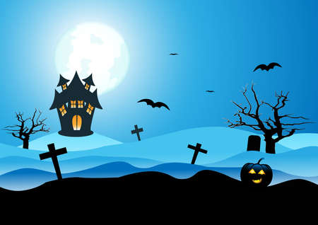 Halloween background. The silhouette landscape of pumpkin, dead tree and scary house with full Moon, illustration Illustration