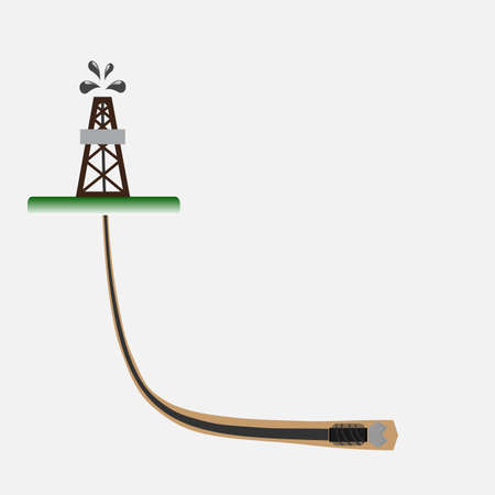 Directional drilling oil well vector illustration. Ilustração