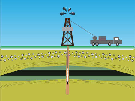 well logging a measurement in a oil rig Illustration