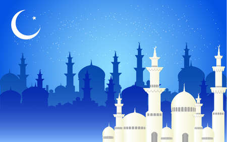 Beautiful mosque and crescent moon on blue mosque shadow background, vector illustration.