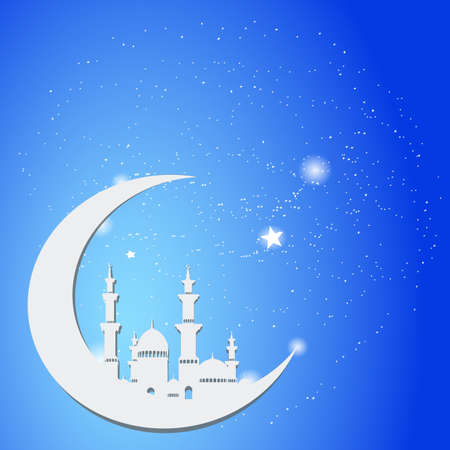 Background of beautiful mosque greeting card, vector illustration.