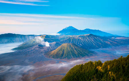 Mount Bromo during sunrise with flowing fog, Indonesia