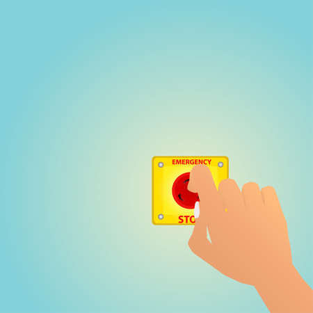 Hand pushing on the emergency stop button, vector illustration. Vectores