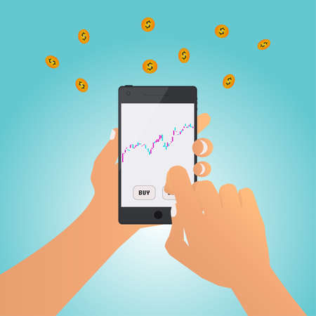 A man investment on the stock market via smart phone, vector illustration. Illustration