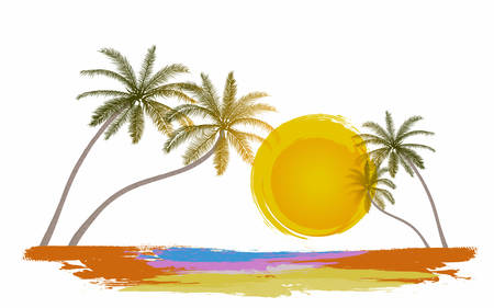 Summer holiday with sightseeing on the beach, Vector Illustration