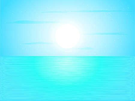 Full moon sightseeing on the ocean background, vector illustration.