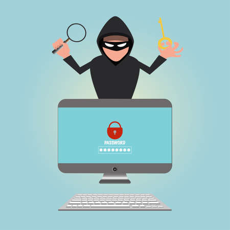 Hacker stealing sensitive data password from a personal computer, vector illustration.