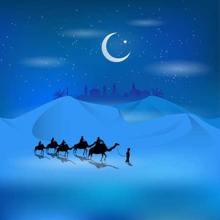 The silhouoette of arabian man riding on camel in dessert, vector illustration