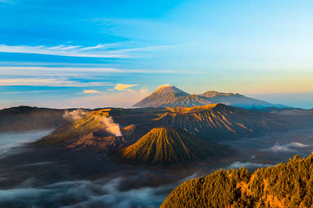 The active volcano of Mount Bromo during sunrise