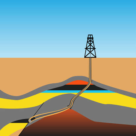 Drilling rig vector with oil and gas formation, vector illustration