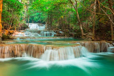 beautiful waterfall in the forest, Kanchanaburi province, Thailand