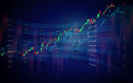 Graphique de chandelier de trading boursier ou forex dans la conception graphique pour le concept d'investissement financier Vecteurs