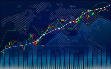 Stock market or forex trading graph with indicator in graphic design for financial concept.