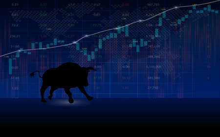 Stock market with bullish symbol on stock investment background concept, vector illustration Stock Illustratie