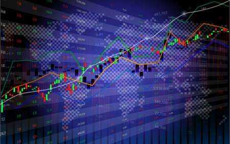 Stock market or forex trading chart with indicator on world map background for financial concept