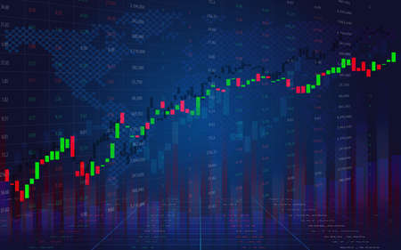 Business graph with tending. Stock market data display concept. Stock Market Prices. Candle stick stock market tracking graph. Economical stock market graph. Çizim