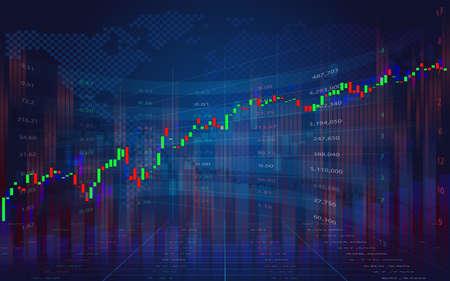 Graphique d'entreprise avec tendance. Concept d'affichage des données boursières. Cours boursiers. Graphique de suivi du marché boursier en chandeliers. Graphique boursier économique.