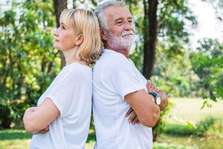 Happy senior couple relax in the garden Stok Fotoğraf