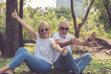 Happy senior couple enjoy activity in the garden