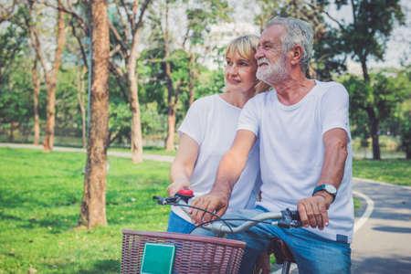 Elderly couple with their bikes Stok Fotoğraf