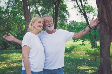 Beautiful senior couple in love outdoor.