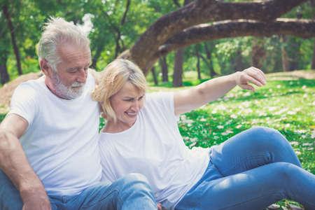 Senior couple in love enjoying togetherness outdoor. Stok Fotoğraf