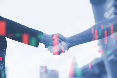 Business partnership handshake. Concept two businessman handshaking process. Standard-Bild