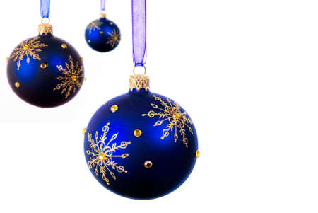 Blue Christmas balls over white background - isolated Stock Photo - 8095115