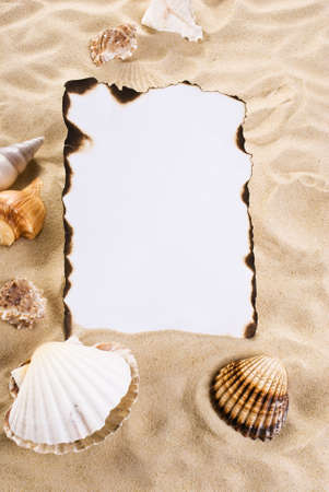 Burned paper on the sand with shells photo